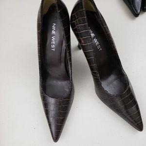 Nine west crocodile leather brown heel